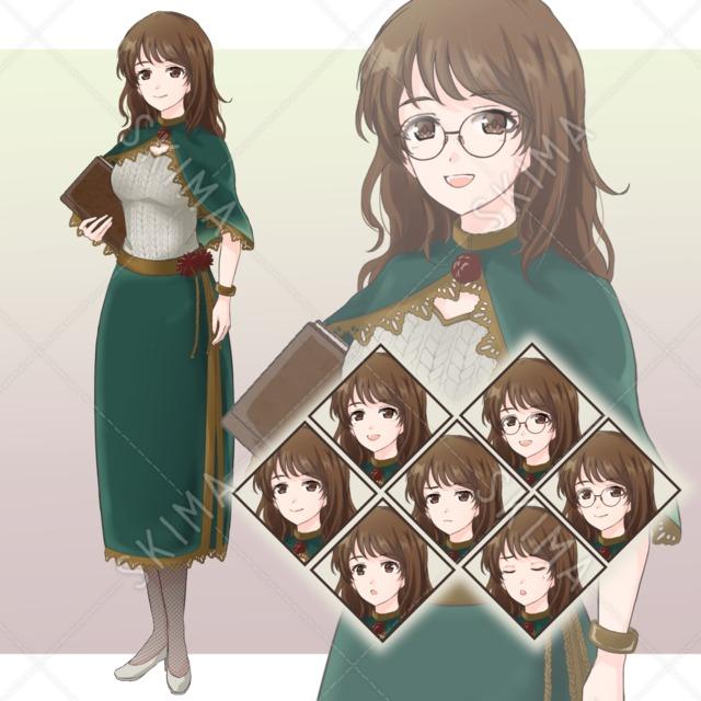 【8/14までお値下げ】司書風の女性 眼鏡差分あり