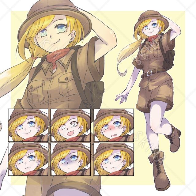 【表情差分6種】冒険家風の女の子立ち絵