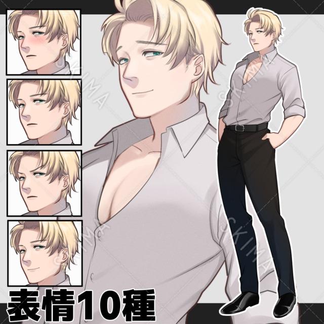 白シャツを着た男性【表情10種】