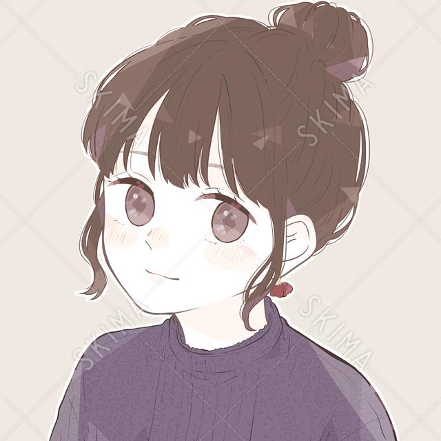 お団子ヘア|秋らしい少女アイコン