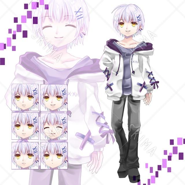 adopt6 紫髪の少年(表情6種)