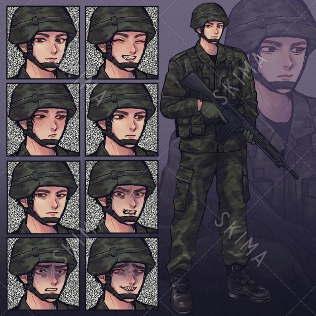 自衛隊員【全身/表情差分8種】