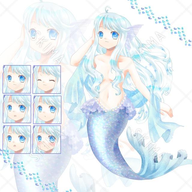 【最終値】adopt3 水色人魚(表情6種)