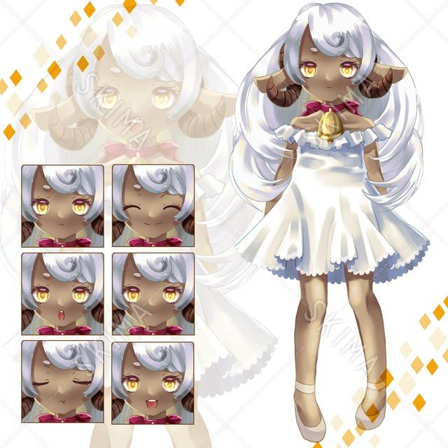 【最終値】adopt7 褐色羊の女の子(表情6種)