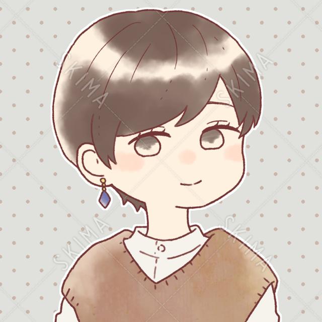 暗髪ショートヘアの少女アイコン|眼鏡差分あり