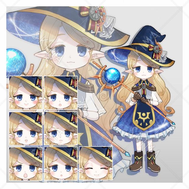 エルフ耳の魔女【表情差分8種/背景透過】