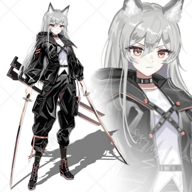 表情3種+狐面 フード付きジャケット