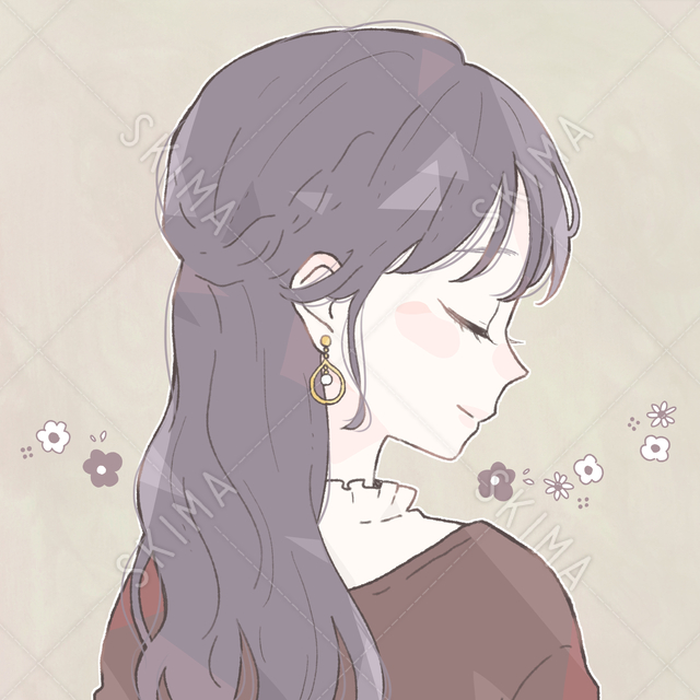 ハーフアップのお嬢様チックな少女のアイコン