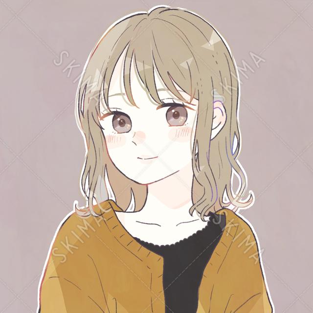 ゆるふわ茶髪少女のアイコンイラスト