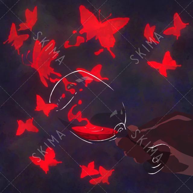 †フードアニマルシリーズ†赤ワインに溶ける蝶