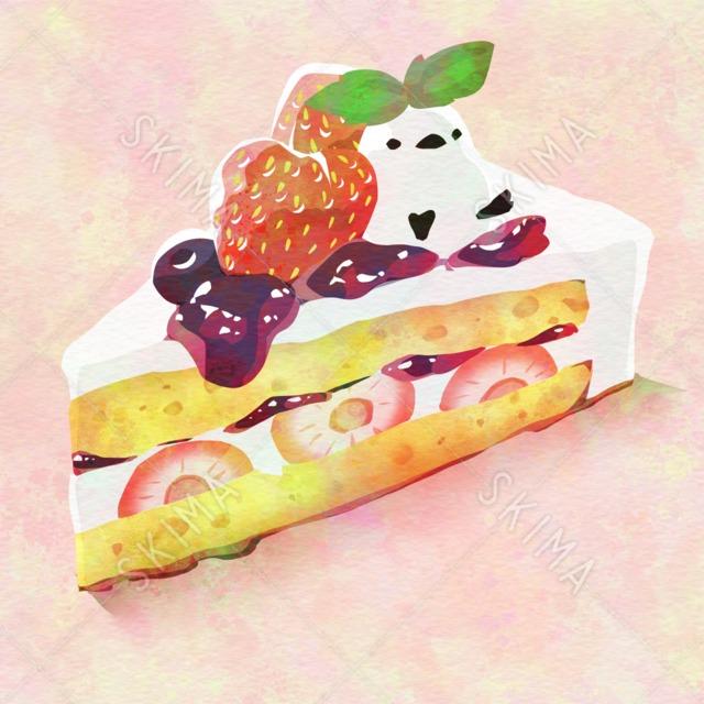 †フードアニマルシリーズ†ショートケーキの上のシマエナガ
