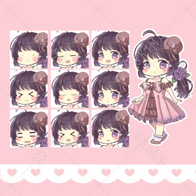 【表情10種】ピンクワンピースの女の子