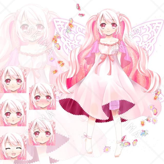 adopt2 ピンクの妖精さん(表情5種、翼有無差分)