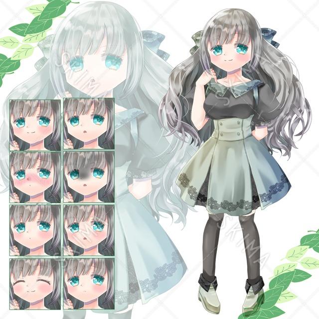 adopt4 緑のスカートの女の子(表情8種)