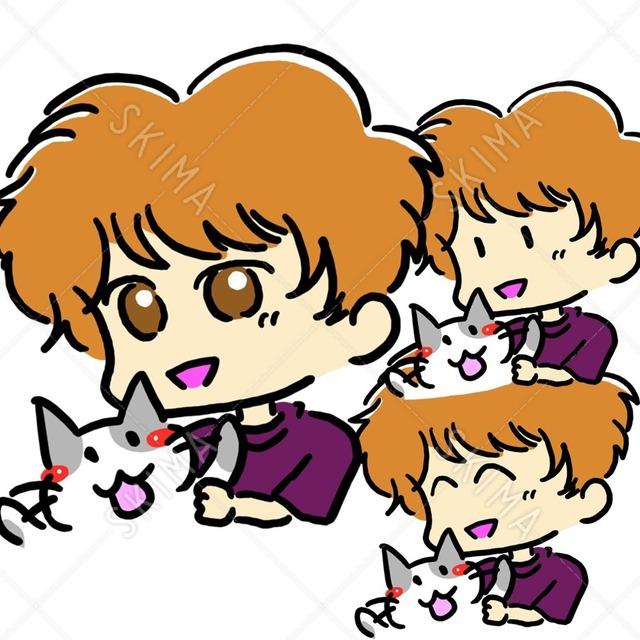 男の子と仲良し猫(笑顔、点目付き)