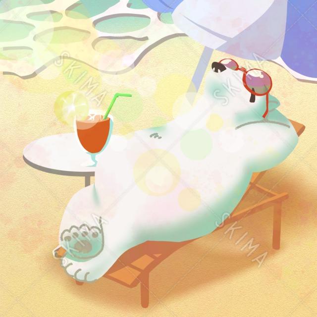 †アニマルシリーズ†日光浴するシロクマ