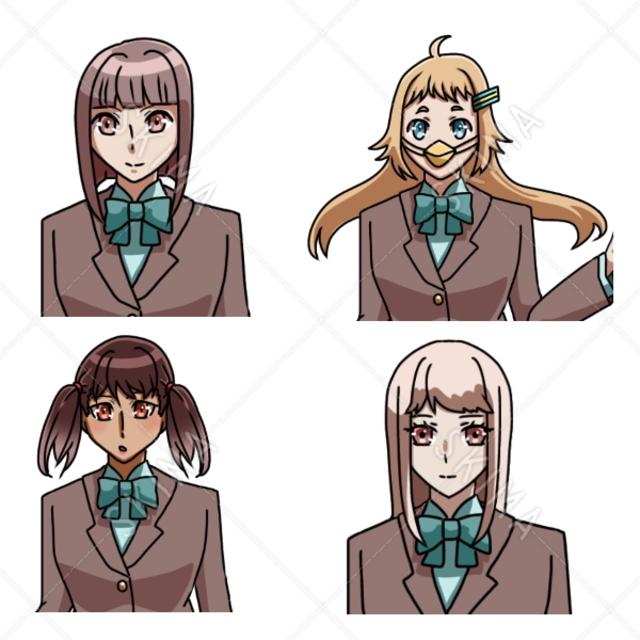 制服女子4名