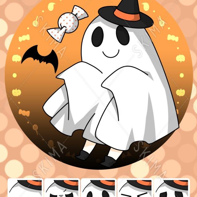 ハロウィン風のお化けのデフォルメキャラクター