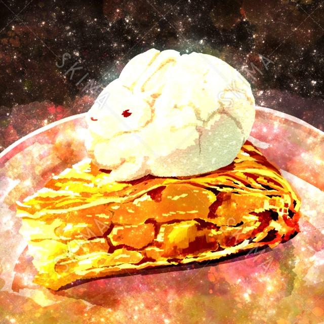†フードアニマルシリーズ†アップルパイに乗るアイスウサギ