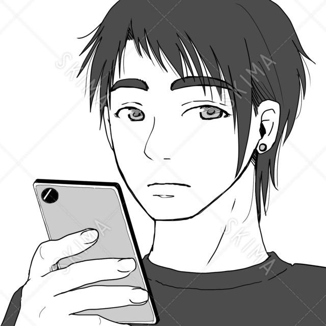 【SNSアイコン】スマホを持つ青年【線画のみ有】