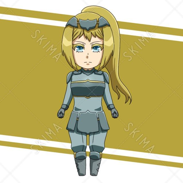 ポニーテールの女性騎士 (表情6種)