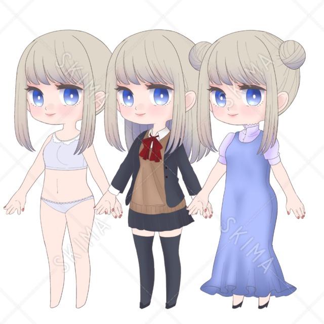 【adopt】SDキャラ全身・差分3種類