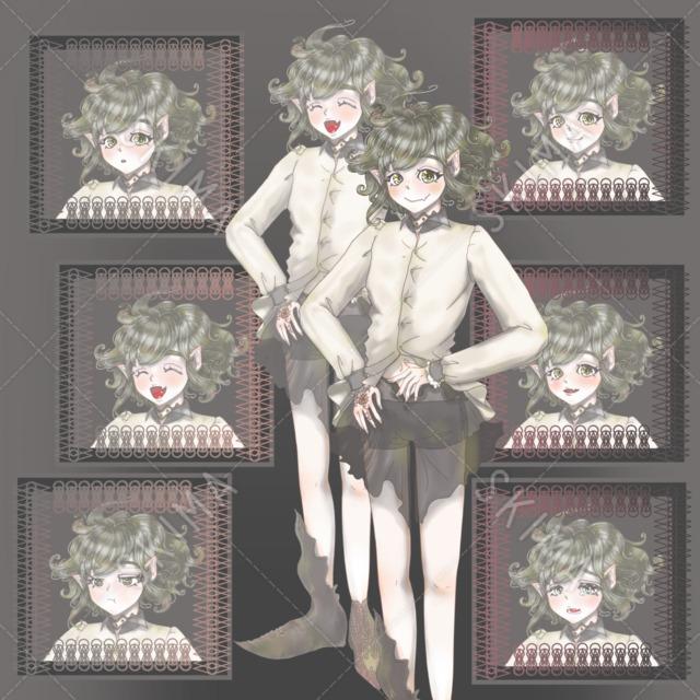エルフ/魔族・性別なし・立ち絵・表情6種