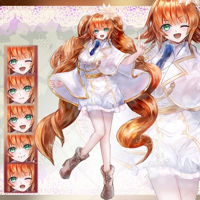 白マント少女(髪型差分2種)