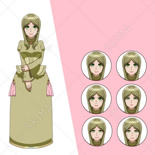 ドレスの女性 (表情6種)