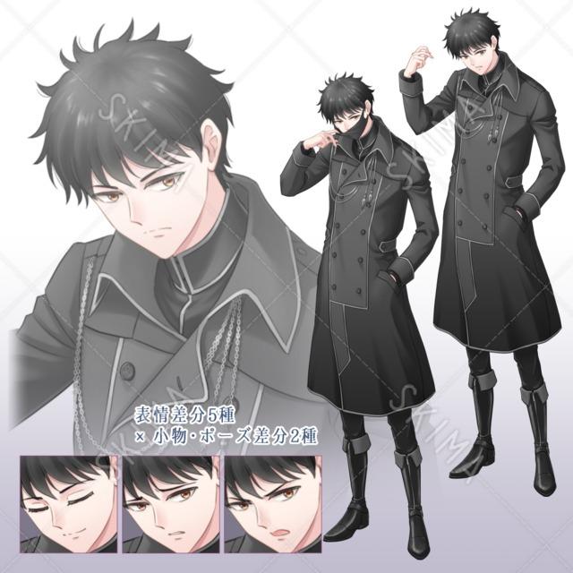 軍服風コートの男性