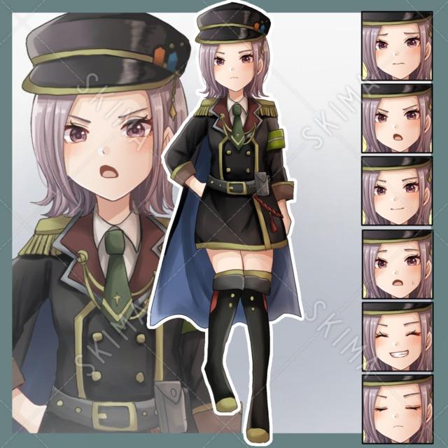 軍服の少女【表情7種】