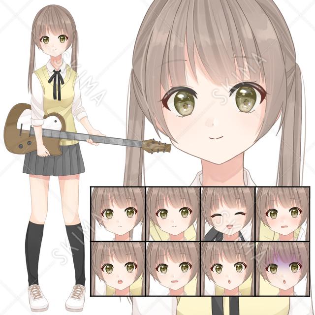 【表情8種】制服のツインテギター女子