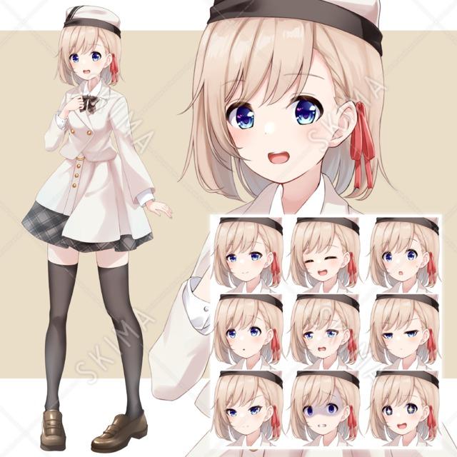 【表情10種】白制服の女の子【全身立ち絵】