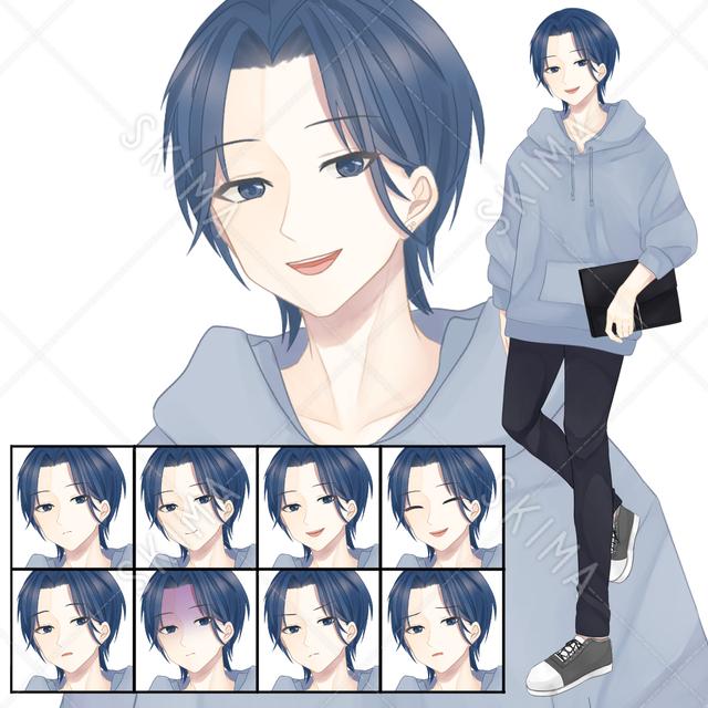 【表情8種】パーカーの男子(青)