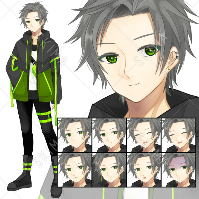 【表情8種】サイバーパンク風の男子/緑