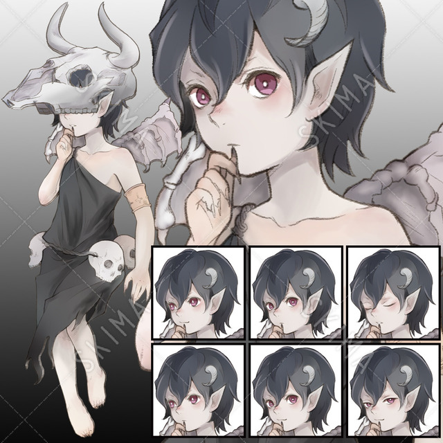 悪魔の子【表情6種+牛頭骨】