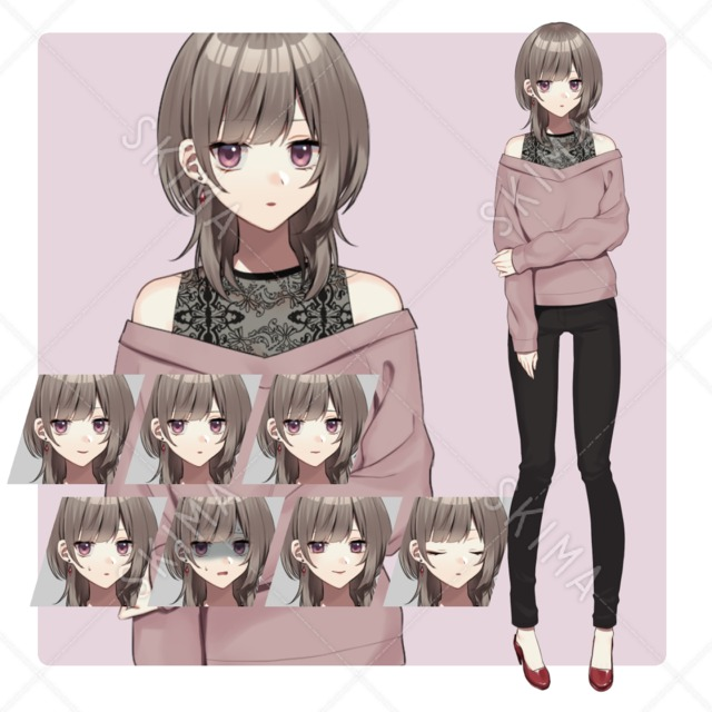 クールな女性(表情8種)