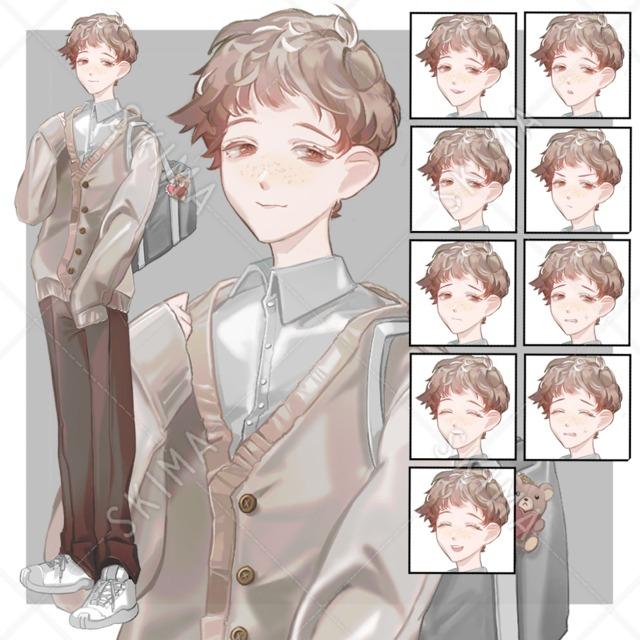 ほわほわ男子学生【表情10種】