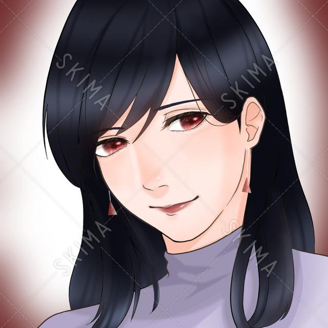 黒髪×赤い瞳