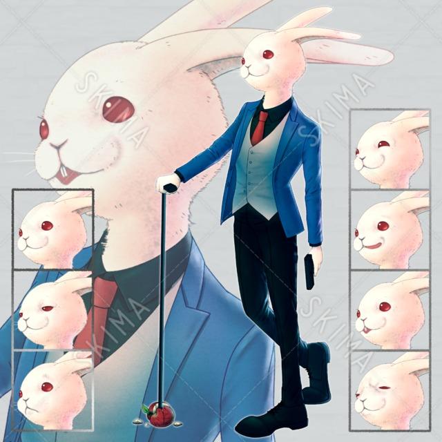 ウサギ 動物 アニマル 獣人 人外 兎 リンゴ