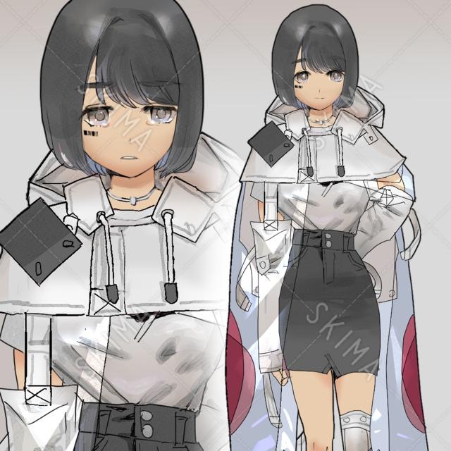 【表情5種】サイバーな雨合羽の女の子