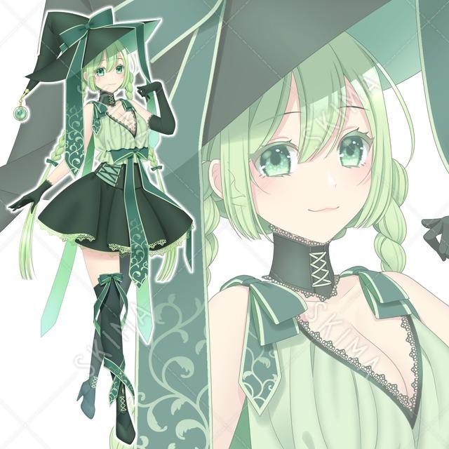緑髪三つ編み魔女