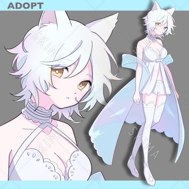 【表情4種】白猫の女の子