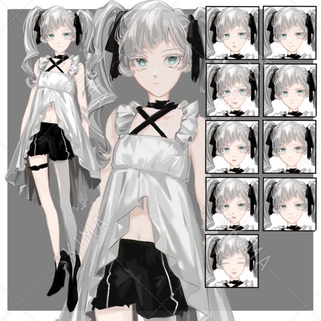 ツインテールの女の子【表情10種】