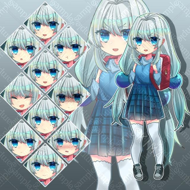 【表情全10種】ランドセルと少女