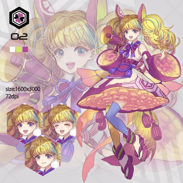 和風・カジュアル系少女 ピンク(ポーズ2種+表情3種)