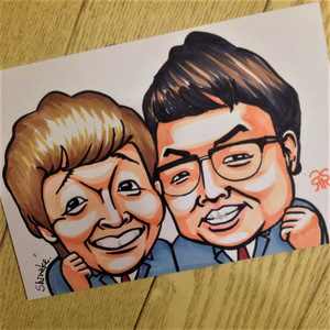 手描き似顔絵ポストカードサイズに2名様お描きします。