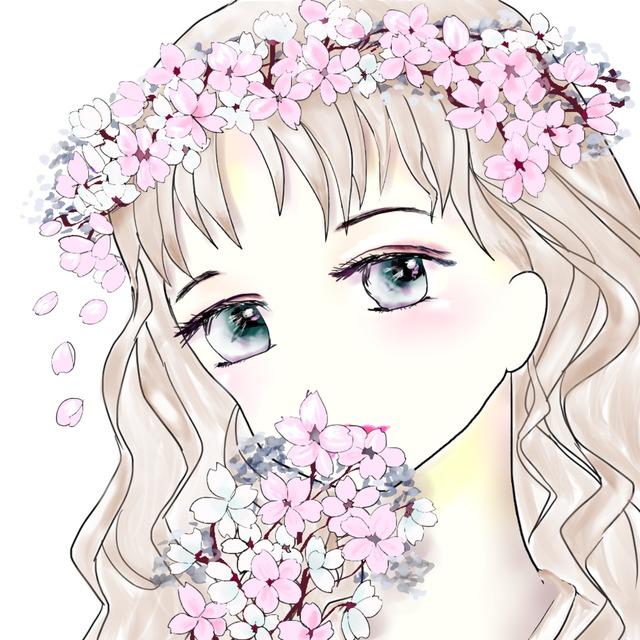 アイコンイラストオーダー承ります 花かんむり女の子でアイコンを