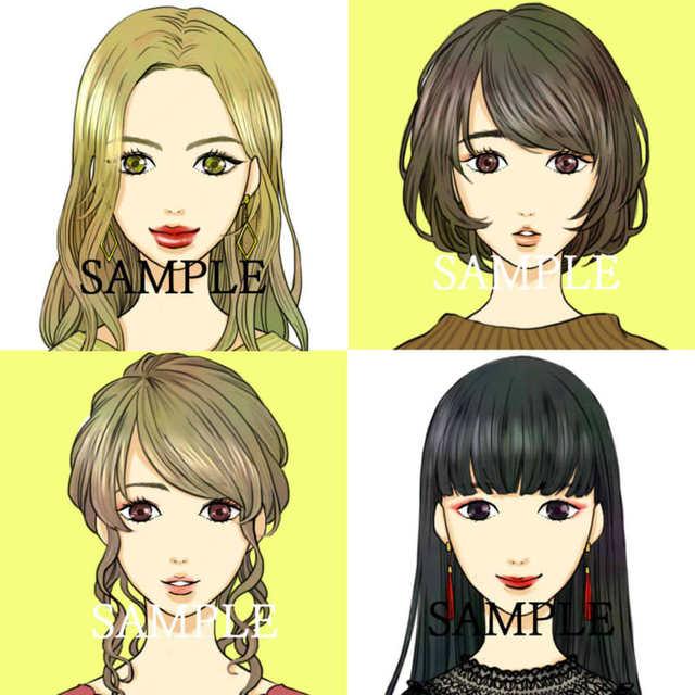 【セミオーダーB】正面・女の子の顔アイコン描きます