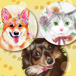 ご希望のタッチでペットや動物の絵を描きます